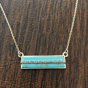 Turquoise & Rhinestone Bar Necklace 💙